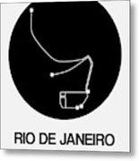 Rio De Janeiro Black Subway Map Metal Print