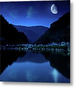 Rising Moon Over Lake Metal Print