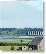 river and bridge towards Berwick upon Tweed scotland Metal Print