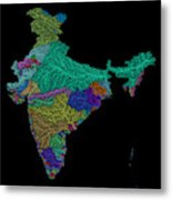 River Basins Of India In Rainbow Colours Metal Print