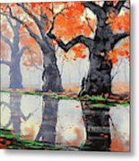 Riverside Trees Metal Print