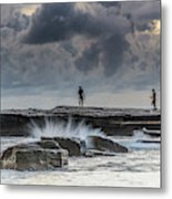 Rock Ledge, Spear Fishermen And Cloudy Seascape Metal Print