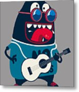 Rock Star Monster, Guitar Metal Print