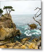 Rocky Cliff And Trees In Carmel Near Metal Print