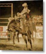 Rodeo Rider Bronco Busting Sepia One Metal Print