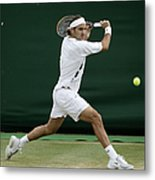 Roger Federer Of Switzerland In Action Metal Print