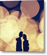 Romantic Couple Kissing On Illuminated Background. Metal Print