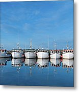 Row Of Boats With Reflection Metal Print