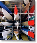 Rows Of Canoes In Boat House, Close-up Metal Print