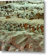 Rows Of Terra Cotta Warriors In Pit 1 Metal Print