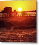 Ruby Sunset Oceanside Pier Metal Print