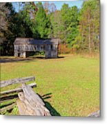 Rustic Double Crib Barn And Split Rail Fence In Cades Cove Metal Print