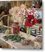 Rustic Wooden Table With Various Herbs And Flowers Metal Print