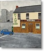 Ryans Pub And Swords Castle Painting Metal Print