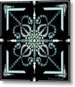 Sacred Circle Design In Blues And White Metal Print
