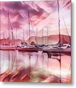 Sailboat Reflections At Sunrise Abstract Metal Print
