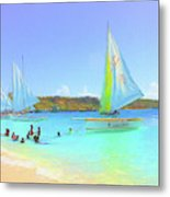 Sailboats At Sandy Ground In Anguilla  Metal Print