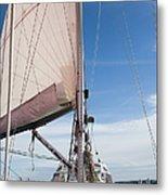 Sailing Boat In Sea Metal Print