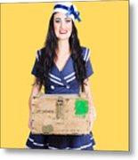 Sailor Pin Up Holding Nautical Supplies Metal Print