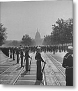 Sailors Lining Constitution Avenue For Metal Print