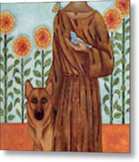 Saint Francis And The Wolf Of Gubbio Metal Print
