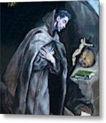 Saint Francis Kneeling In Meditation Metal Print