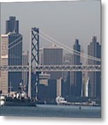 San Francisco Past The Bay Bridge Metal Print