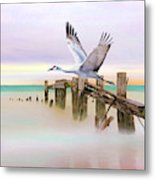 Sandhill Crane And Old Dock Metal Print