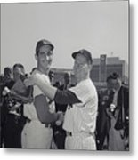 Sandy Koufax And Whitey Ford Shaking Metal Print