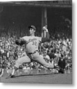 Sandy Koufax Pitching In World Series Metal Print