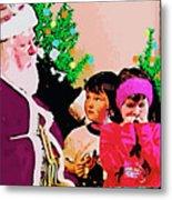 Santa And The Kids Metal Print