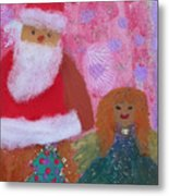 Santa Claus And Guardian Angel - Pintoresco Art By Sylvia Metal Print