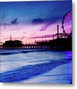 Santa Monica Pier With Ferris Wheel Metal Print