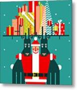 Santa With Deers Gifts And Presents Metal Print