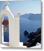 Santorini Bell - Greek Islands Metal Print