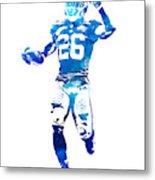 Saquon Barkley New York Giants Water Color Pixel Art 10 Metal Print