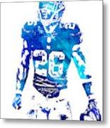 Saquon Barkley New York Giants Water Color Pixel Art 11 Metal Print