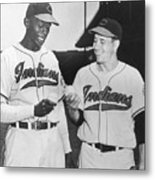 Satchel Paige Bob Feller Comparing Metal Print