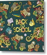 School And Education Doodles Hand Drawn Metal Print