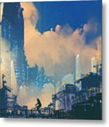Sci-fi Cityscape With Slum And Metal Print