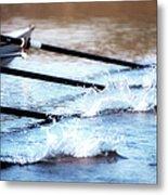 Sculling Team Rowing On Water Metal Print