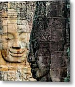 Sculptures At Bayon Temple, Angkor Metal Print
