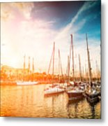 Sea Bay With Yachts At Sunset Metal Print
