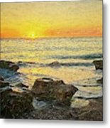 Sea Shore Glow Metal Print
