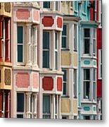 Seafront Houses, Aberdovey, Wales Metal Print