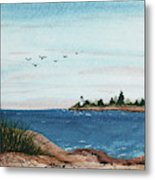 Seagulls Over Lighthouse Cove Metal Print