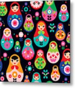 Seamless Colorful Retro Russian Doll Metal Print