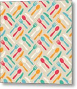 Seamless Cute Pattern With Color Metal Print