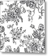 Seamless  Pattern With Bouquet Of Metal Print
