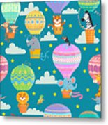 Seamless Pattern With Colorful  Hot Air Metal Print